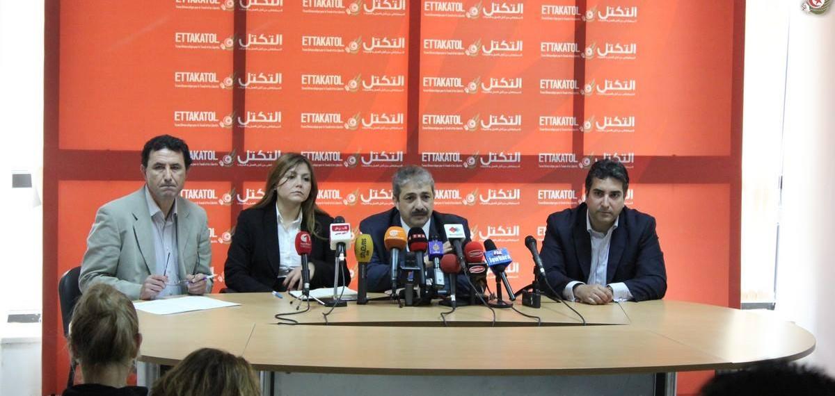 تغطية إعلامية لمحتوى الندوة الصحفية التي عقدها حزب التكتل اليوم 28 أفريل 2014