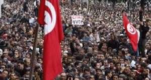 Protesters demonstrate against Tunisian President Zine al-Abidine Ben Ali in Tunis