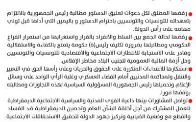 بيــــان مشترك لأحزاب الجمهوري والتكتل وآفاق وأمل والتيار